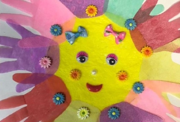 поделка солнышко ладошки